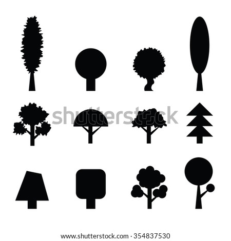 Set of Trees Silhouettes. Collection of Design Elements. Icons Set.  - stock photo