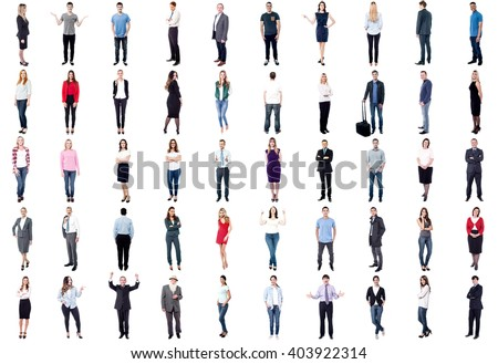 Set of trendy and business people isolated on white background - stock photo