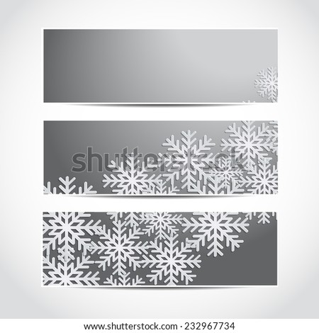 Set of trendy Christmas and New Year banners template or website headers with 3d paper snowflakes. Christmas background. Design illustration - stock photo