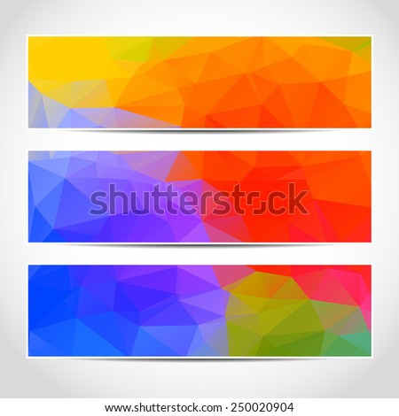 Set of trendy colorful banners template or website headers with abstract geometric background. Design illustration - stock photo