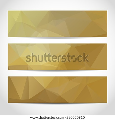 Set of trendy gold banners template or website headers with abstract geometric background. Design illustration - stock photo