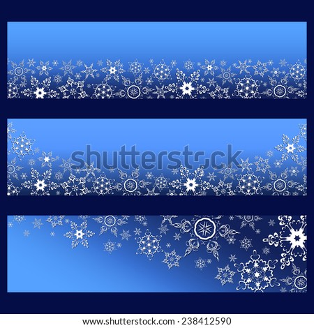 Set of trendy horizontal banners with 3d white ornate snowflakes isolated. Christmas and New Year card, place for text. Beautiful stylish wallpaper. Raster illustration