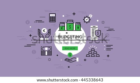 set trendy illustration concepts budgeting line stock illustration