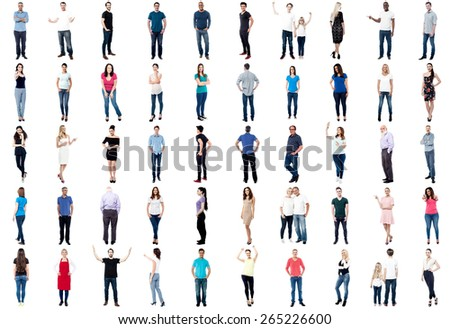 Set of trendy people isolated on white background - stock photo