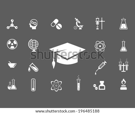Set of trendy science icons with a central mortarboard hat surrounded by laboratory glassware  microscope  globe  radiation icon  atom  syringe  thermometer and pestle and mortar illustration - stock photo