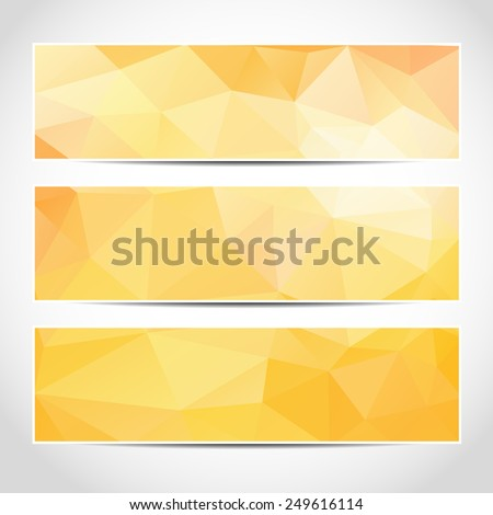 Set of trendy yellow banners template or website headers with abstract geometric background. Design illustration - stock photo