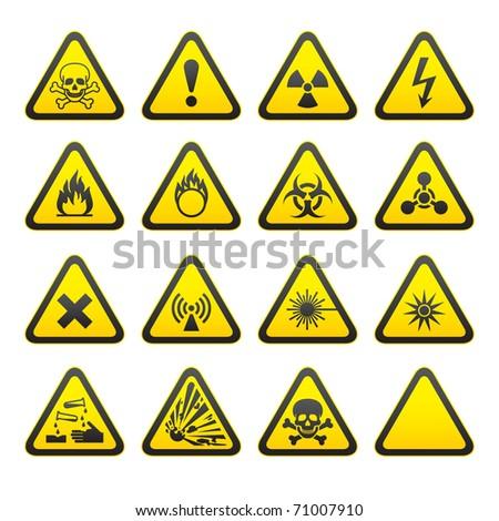 Set of Triangular Warning Hazard Signs - stock photo