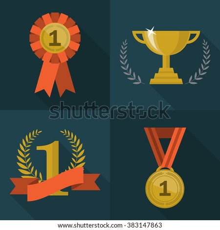Set of trophy and awards icons. Flat style design