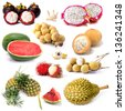Set of tropical fruit in Thailand, Fruit isolated - stock photo