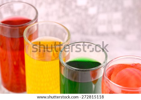 Set of tropical fruit juices in glasses close up - stock photo