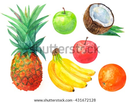set of tropical fruit, pineapple, bananas, oranges, apples, red and green, on a white background, watercolor painting, realistic illustration - stock photo
