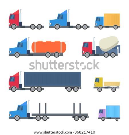 Set of Trucks Flat Design  Illustration - stock photo