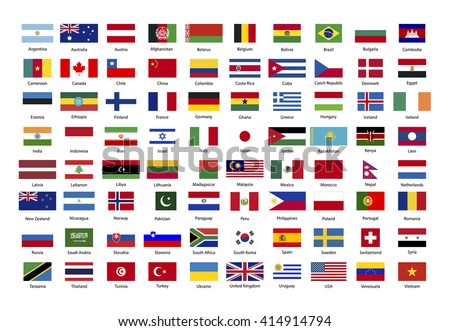 Set of true proportions flags of world sovereign states isolated on white - stock photo