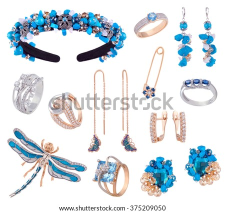 Set of Turquoise jewelry items. White Gold silver and blue gemstones diamonds topaz  precious accessorize - tiara, necklace, ring, earrings, pin, brooch isolated on white - stock photo