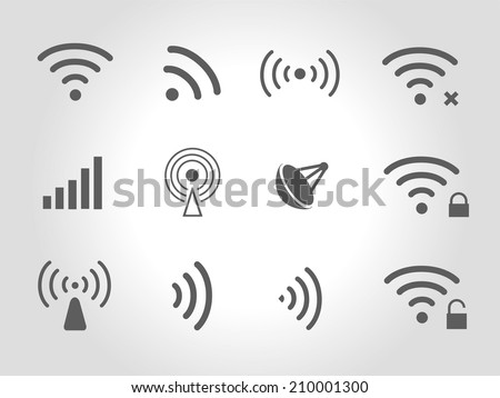 Set of twelve different black  wireless and wifi icons for remote access and communication via radio waves - stock photo