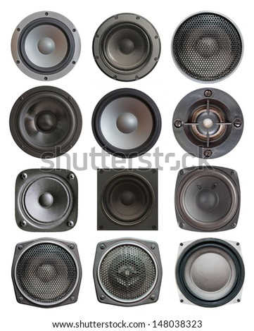set of  twelve sound speakers isolated on white background