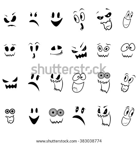 Set of twenty four ghosts faces outline with various characters isolated on a white background, cartoon Halloween illustration