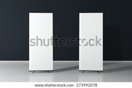Set of two blank roll up posters - vertical billboard for text - stock photo