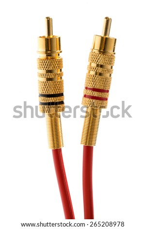 Set of two color coded brass RCA connectors and cables for transmitting audio and video signals to home entertainment systems such as VCRs and televisions isolated on white - stock photo