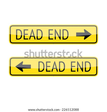 Set of two dead end traffic signs isolated on white background - stock photo