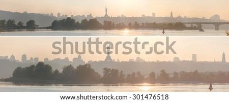 Set of two different width Kiev's western coast panoramas in early sunset light. - stock photo