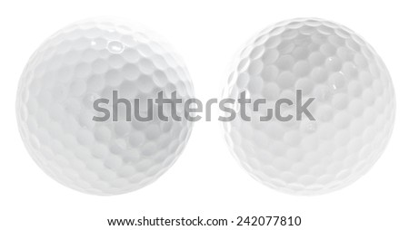 Set of two golf balls isolated on white - stock photo