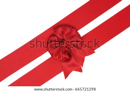 Set of two holiday red ribbons and satin bows isolated on white background