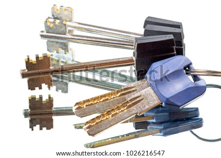 Set of two kinds of keys on a mirror, Isolated on white background