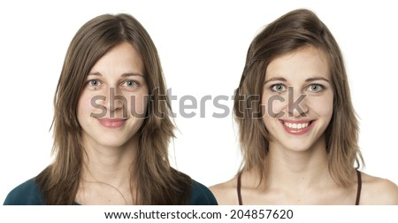 set of two portraits of the same young woman, one before and the other after putting on make-up - stock photo