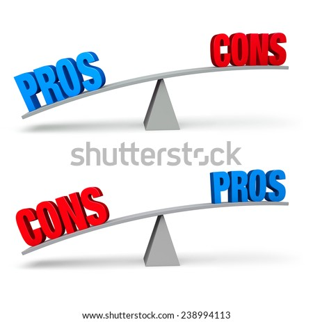 "Set of two pro and con balance beams isolated on white. On one scale, a bold blue ""PROS"" outweighs a red ""CONS"" and on the other, a red ""CONS"" outweighs a blue ""PROS""."
