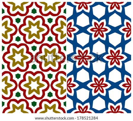 Set of Two Seamless Floral Patterns. Rasterized Version - stock photo