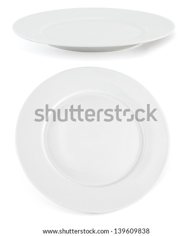 Set of two white ceramic glossy plates isolated over white background - stock photo