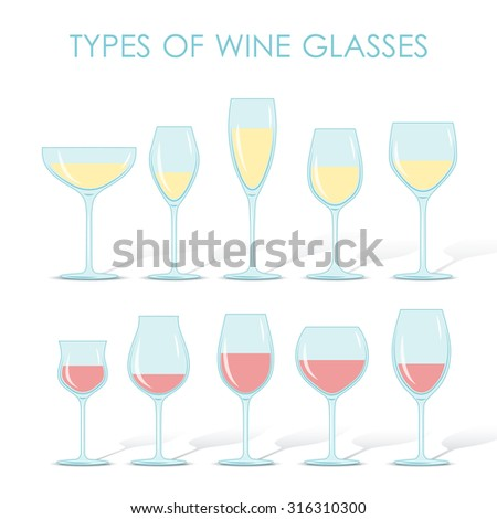 Set of types of wine and glasses red white sparkling and dessert wine - stock photo