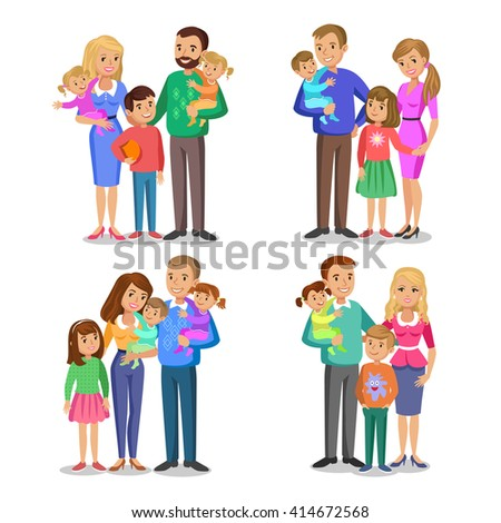 Set of typical family in love. Happy family portrait, smiling parents and kids. Concept happy family, family love. - stock photo