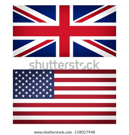 Set of UK and USA flags vignetted illustration