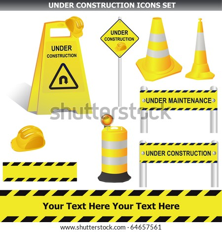 Set of Under construction signs isolated on white