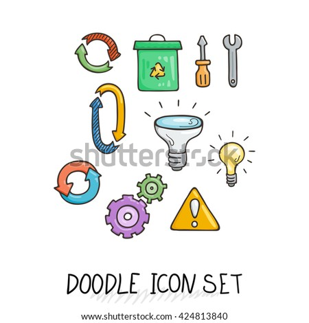 Set of Universal Doodle Icons. Bright Colors and Variety of Topics. Processing, Arrows, Light Bulb. - stock photo