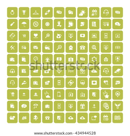 Set of 100 Universal Icons. Simple Flat Style. Business, internet, web design.
