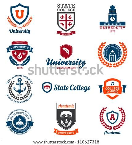 Set of universit...U Logo Images