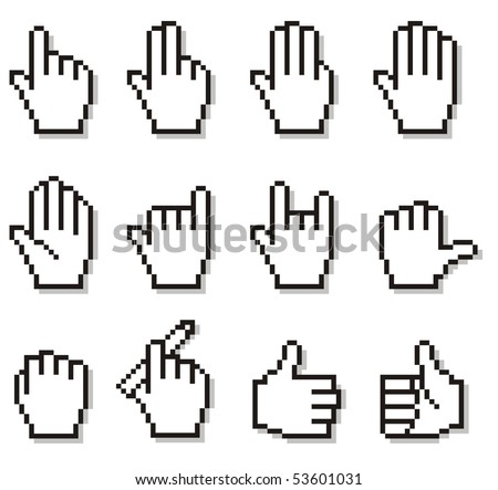Set of unusual pixelated hand icons. Large format full resolution.
