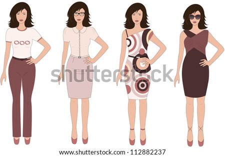 Set of urban women in different dresses on white background.