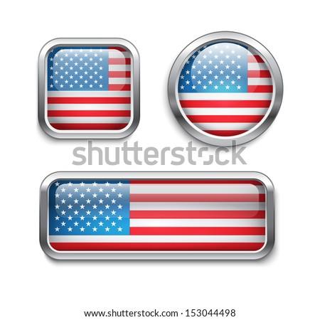 Set of USA flag glass buttons, raster version - stock photo