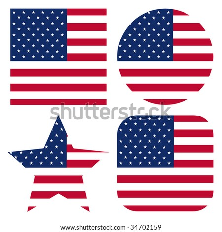 set of usa flags - stock photo
