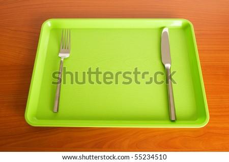 Set of utensils arranged on the table - stock photo