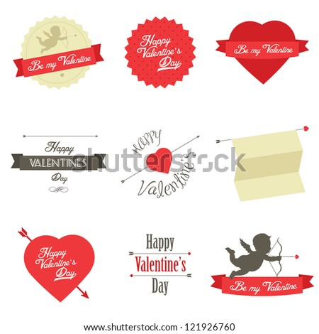 Set of Valentine's Day red labels and badges - stock photo