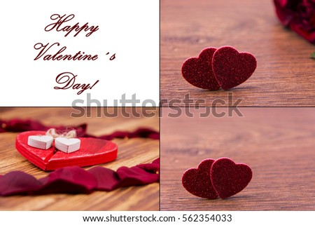 Set of Valentines day hearts and roses
