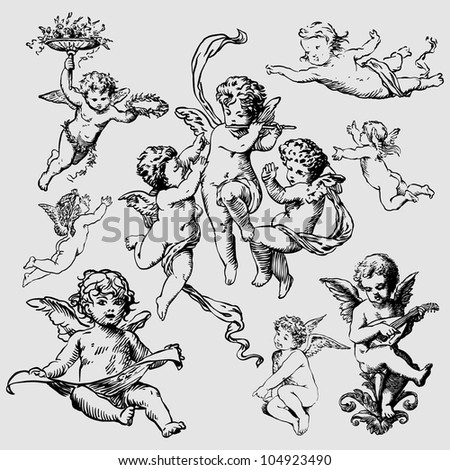 set of various angels or cupids. isolated - stock photo