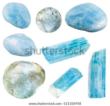 set of various aquamarine (blue beryl) mineral crystals and polished gem stones isolated on white background