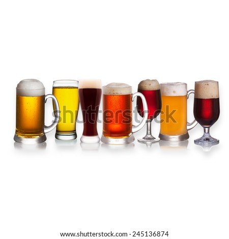 Set of various beer isolated on a white background - stock photo