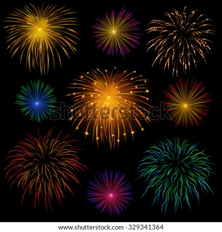 Set of various bright celebratory fireworks, on transparent background